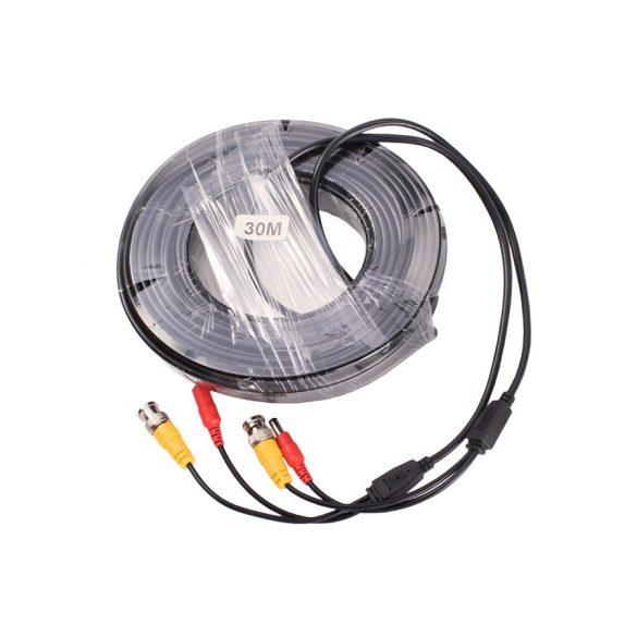 Előre szerelt biztonsági kamera kábel  0,75mm 30m fekete