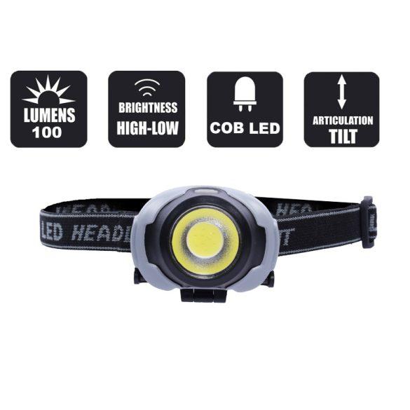 Fejlámpa, COB LED-es, 3 világítási mód