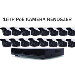 16 KAMERÁS 5MP, IP, PoE SWITCH, AI, 60M IR, H.265, ONVIF MIKROFONOS CSŐKAMERA RENDSZER