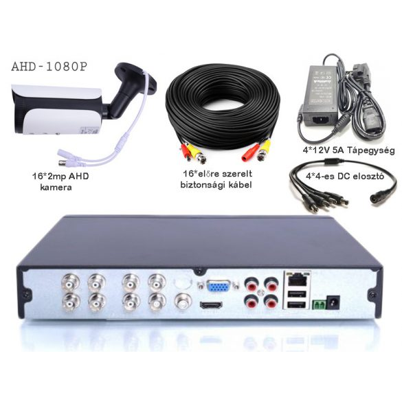 16 kamerás AHD rendszer 2.0 MegaPixel, csőkamerával