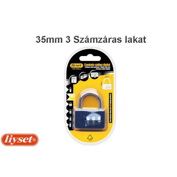 LIYSET 35 mm 3 Számzáras lakat fekete színű