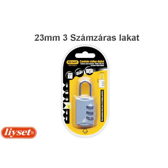 LIYSET 23 mm 3 Számzáras lakat ezüst színű