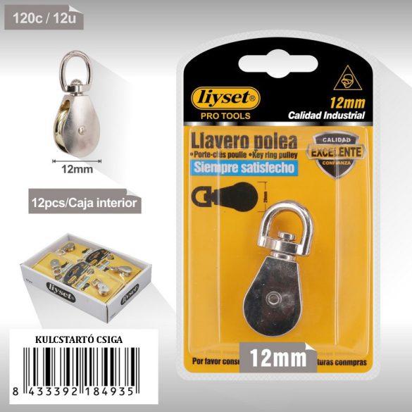 Kulcstartó emelőcsiga, forgós gyűrűs, króm bevonattal 12mm