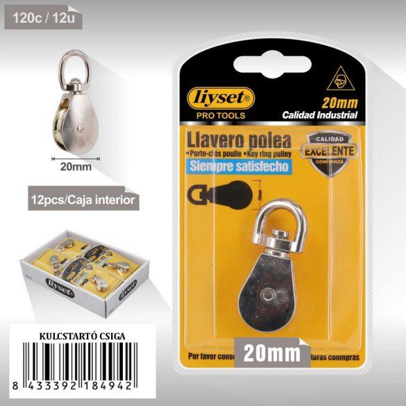 Kulcstartó emelőcsiga, forgós gyűrűs, króm bevonattal 20mm