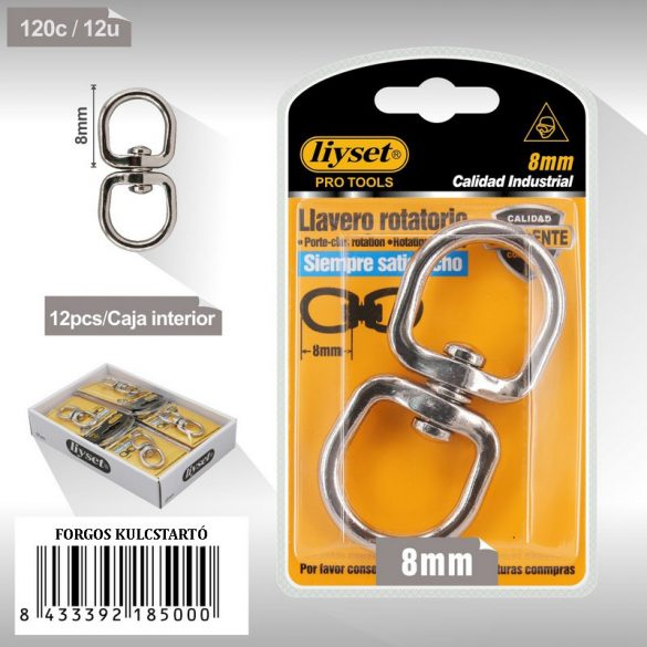 Dupla szemű forgó gyűrűk ezüst fém 8mm
