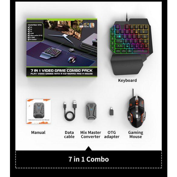 7 az 1-ben Video Game Combo Pack billentyűzet + egér + konverter PS3 / PS4 / PS5 / Switch / Xbox 360 / Xbox one