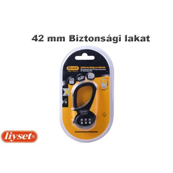 LIYSET 42 mm 3 Számzáras lakat fekete-sárga