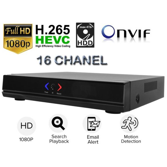 16CH 2MP  CCTV NVR RÖGZÍTŐ H.265 ONVIF