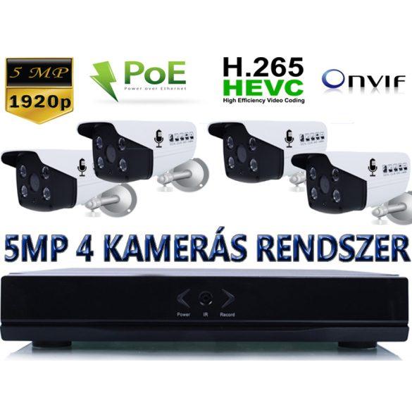 4 KAMERÁS 5MP/ IP/ PoE/ Mikrofonos CSŐKAMERA RENDSZER SZETT  H.265 ONVIF