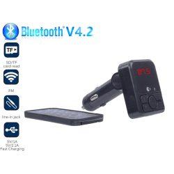 Autós Bluetooth FM transmitter, MP3, 2db USB töltő, AUX, TF CARD, táviránytóval