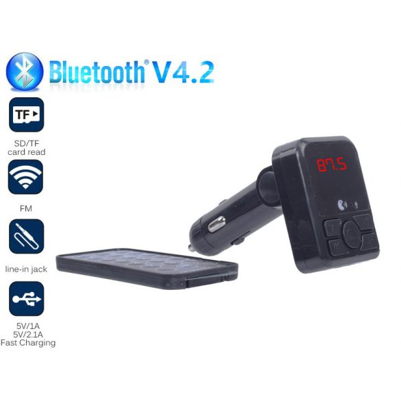 Autos Bluetooth FM transmitter, MP3, 2db USB töltő, AUX, TF CARD, táviránytóval