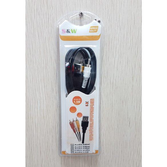 USB   3x RCA kábel 1,5 méter