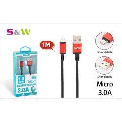 1m-es 3.0A USB - MICRO USB TÖLTŐ ÉS ADATKÁBEL, FEKETE-PIROS SZÍN