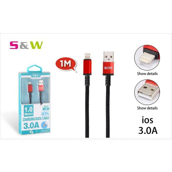 1m-es 3.0A USB - LIGHTNING TÖLTŐ ÉS ADATKÁBEL, FEKETE-PIROS SZÍN