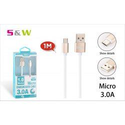 S&W 1m-es 3.0A USB - MICRO USB TÖLTŐ ÉS ADATKÁBEL, FEHÉR-ARANY SZÍN