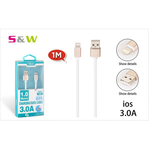 S&W 1m-es 3.0A USB - LIGHTNING TÖLTŐ ÉS ADATKÁBEL, FEHÉR-ARANY SZÍN