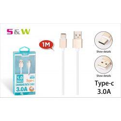 S&W 1m-es 3.0A USB - TYPE-C TÖLTŐ ÉS ADATKÁBEL, FEHÉR-ARANY SZÍN