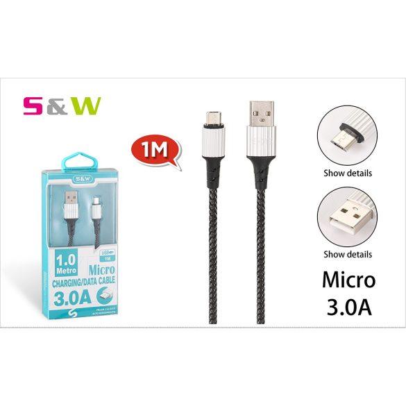 CELLECT Szövet borítású USB - MICRO USB töltő és  adatkábel, 1m, max 3.0A, fekete szín
