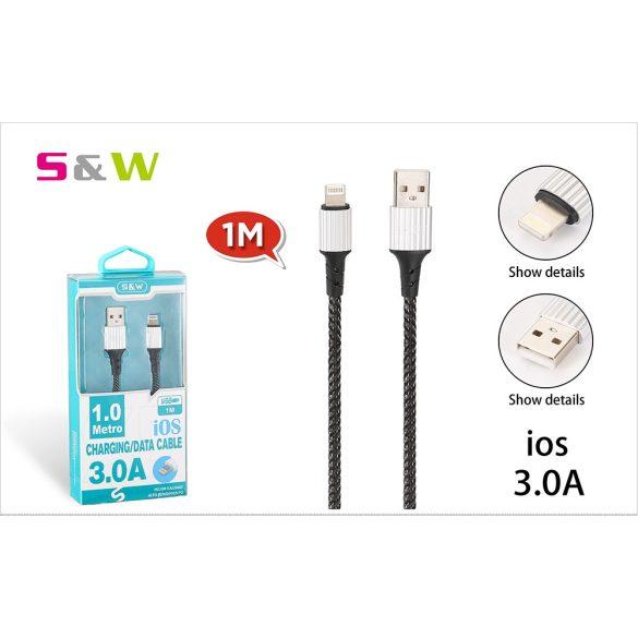 CELLECT Szövet borítású USB - LIGHTNING töltő és  adatkábel, 1m, max 3.0A, fekete szín