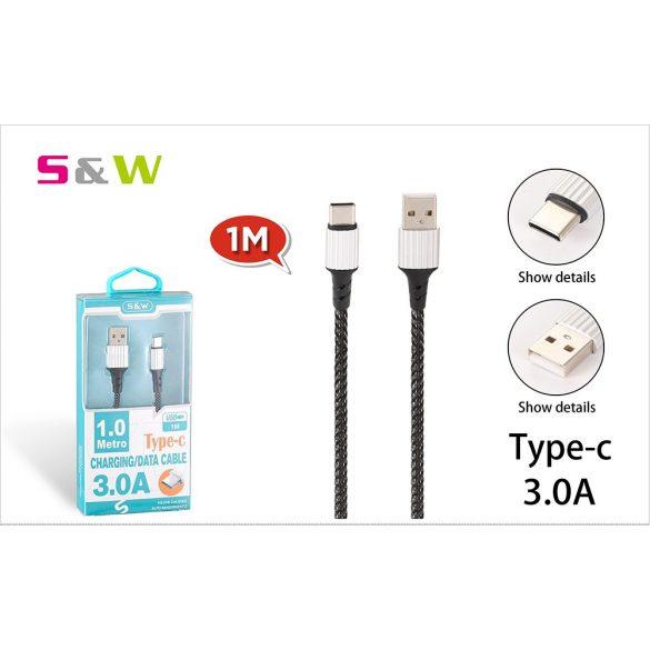 CELLECT Szövet borítású USB - TYPE-C töltő és  adatkábel, 1m, max 3.0A, fekete szín