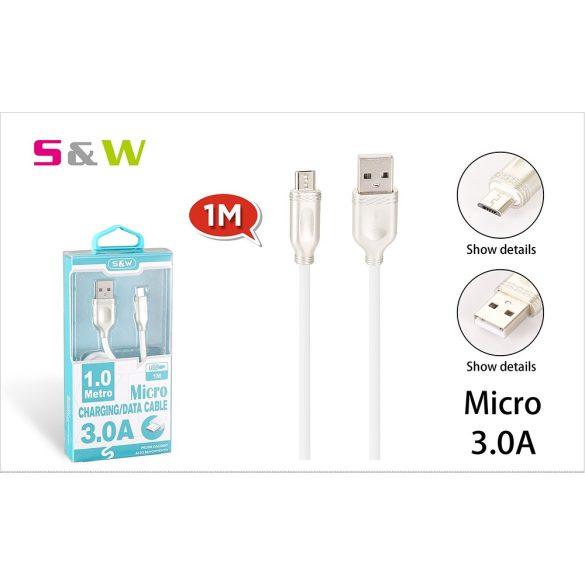 1m-es 3.0A USB - MICRO USB Gyorstöltésű adatkábel fehérszínű
