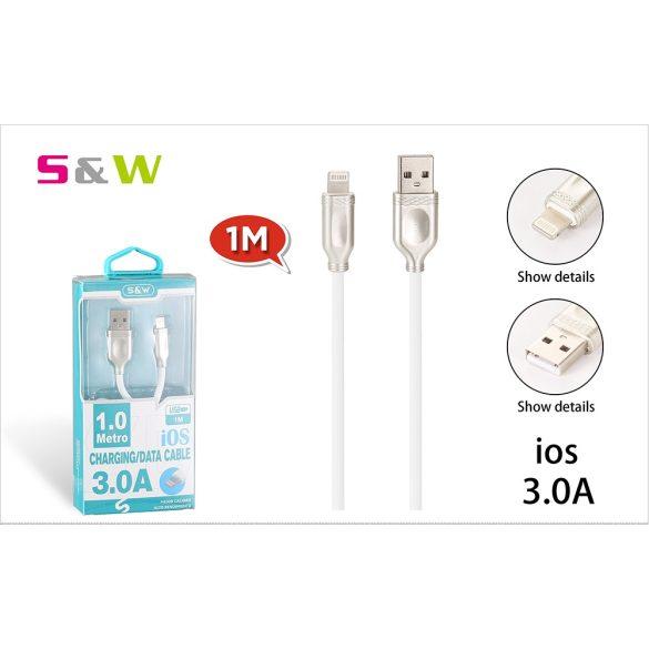 1m-es 3.0A USB - LIGHTNING Gyorstöltésű adatkábel fehérszínű