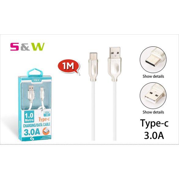 1m-es 3.0A USB - TYPE-C Gyorstöltésű adatkábel fehérszínű