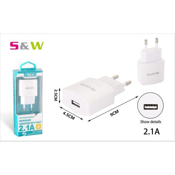 9cm-es Hálózati töltő adapter, 1db USB csatlakozóval, 2.1A, fehér