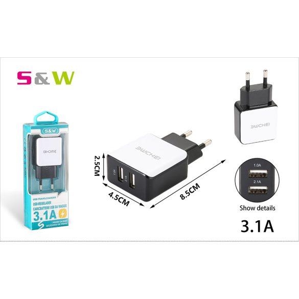 2 USB csatlakozóval 3.1A Hálózati töltő adapter, fehér-fekete szín