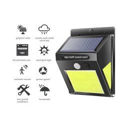 60 LED-es  kültéri napelemes falilámpa, PIR+CDS mozgásérzékelővel, vízálló,  kerti dekorációhoz