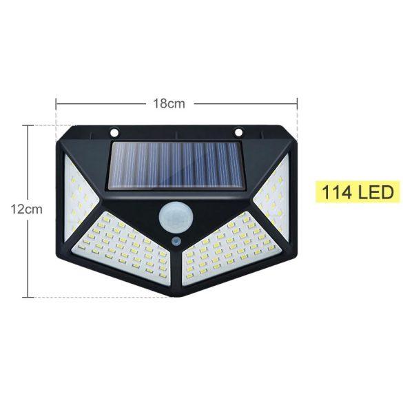 114 LED kültéri vízálló napelemes PIR mozgásérzékelő, kert dekorációhoz 3 üzemmód
