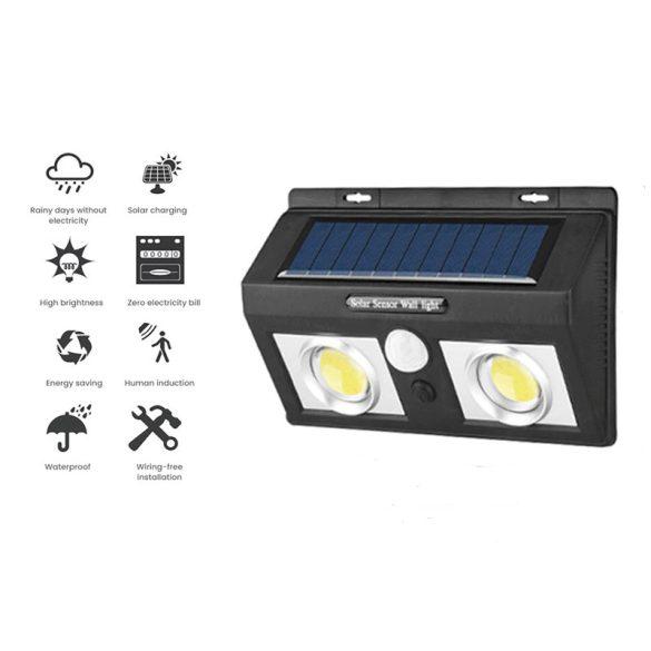 50 LED-es kültéri napelemes 2db projektoros fali lámpa PIR+CDS mozgásérzékelővel, vízálló, kerti világításhoz