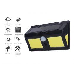 108 LED-es  kültéri napelemes falilámpa, PIR+CDS mozgásérzékelővel,  IP64 VÍZÁLLÓ