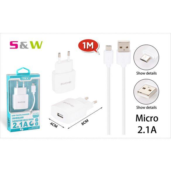 Hálózati töltő adapter 1db USB csatlakozóval + 1m-es USB - MICRO USB adatkábellel, 2.1A fehér szín