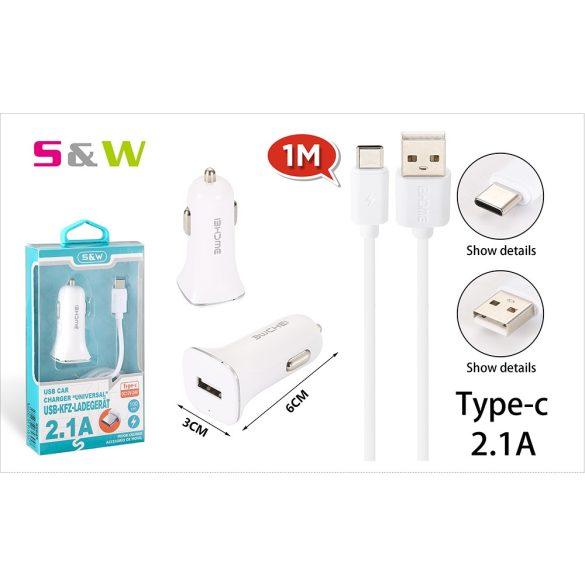 Szivargyújtó töltő adapter 1db USB csatlakozóval + 1m-es 2.1A USB - TYPE-C adtkábellel