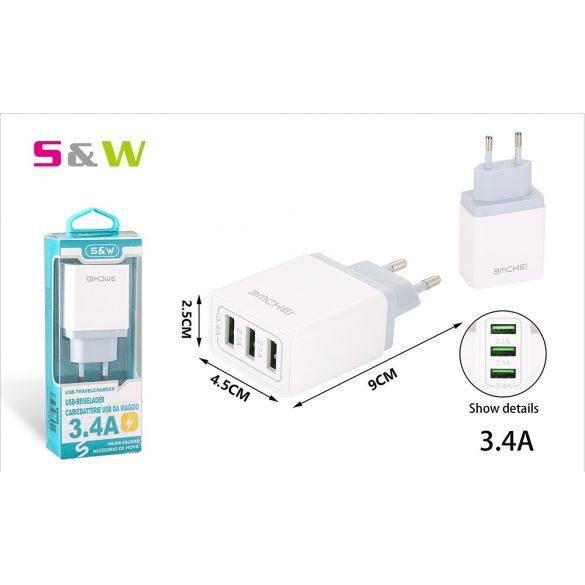 3 USB csatlakozó hálozati töltő adapter 3.4A, fehér szín