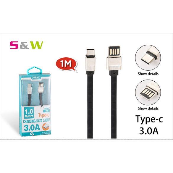 1m-es 3.0A USB - TYPE-C Gyorstöltésű lapos adatkábel fekete szín