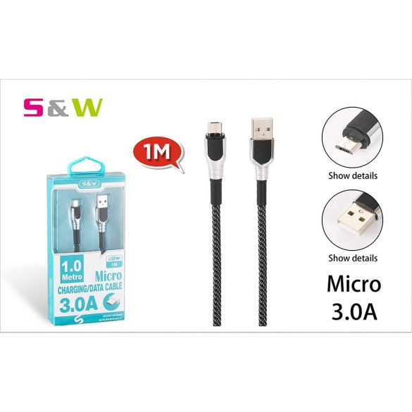 CELLECT Szövet borítású USB - MICRO USB töltő és  adatkábel, 1m, 3.0A, fekete-ezüst szín