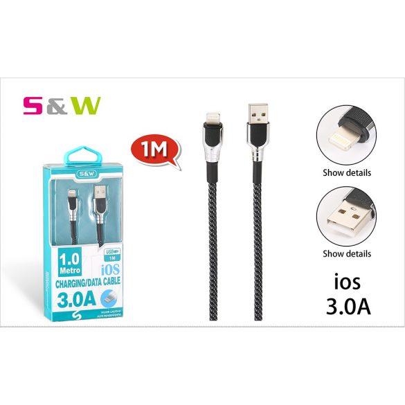 CELLECT Szövet borítású USB - LIGHTNING töltő és  adatkábel, 1m-es 3.0A, fekete-ezüst szín