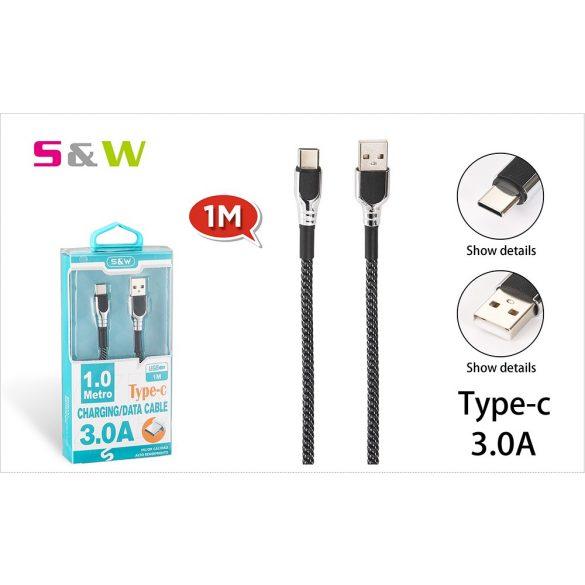 CELLECT Szövet borítású USB -  TYPE-C töltő és  adatkábel, 1m-es 3.0A, fekete-ezüst szín