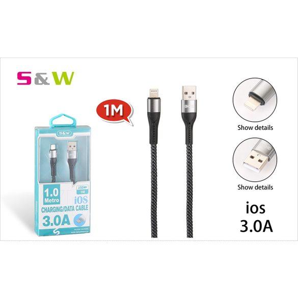 CELLECT Szövetborítású törésgátloval USB - LIGHTNING USB töltő és  adatkábel, 1m, max 3.0A, fekete-ezüst szín