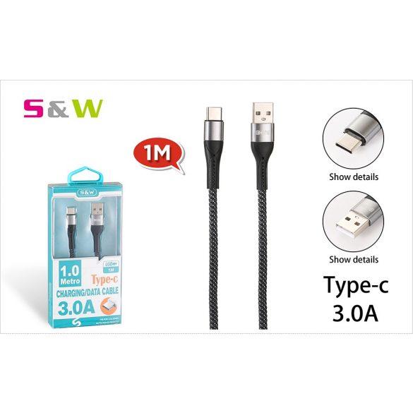 CELLECT Szövetborítású törésgátloval USB - TYPE-C USB töltő és  adatkábel, 1m, max 3.0A, fekete-ezüst szín