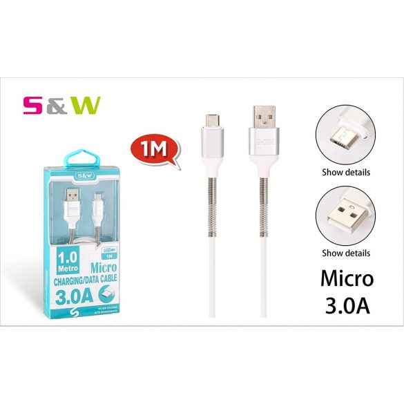 Rugó törésgátloval USB - MICRO USB töltő és  adatkábel, 1m, 3.0A, fehér szín