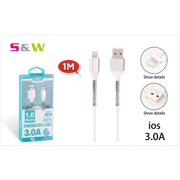 Rugó törésgátloval USB - LIGHTNING töltő és  adatkábel, 1m, 3.0A, fehér szín
