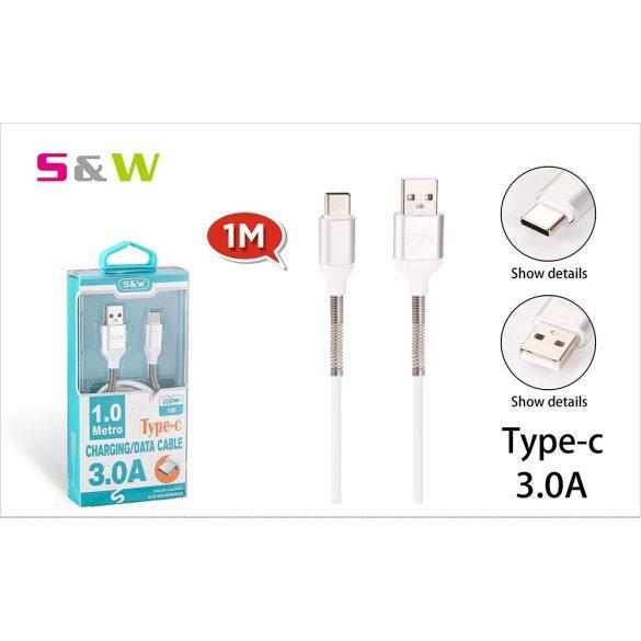 Rugó törésgátlóval USB - TYPE-C töltő és  adatkábel, 1m, 3.0A, fehér szín