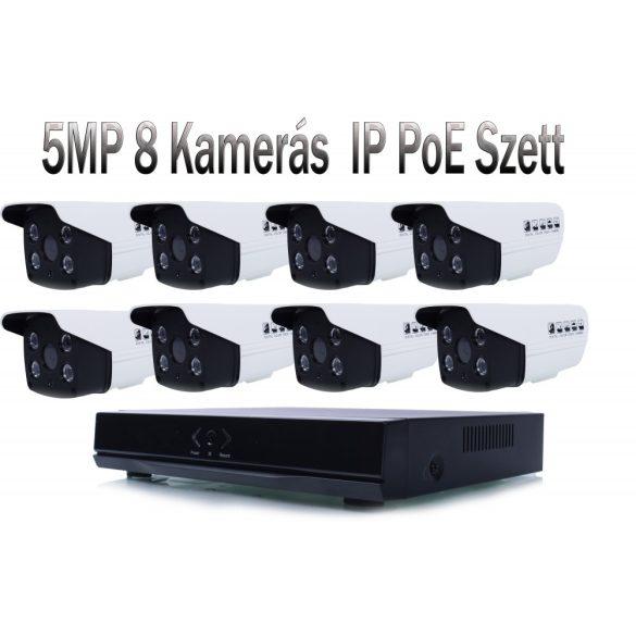 8 KAMERÁS 5MP/ IP/ PoE/ AI/  CSŐ KAMERA RENDSZER SZETT H.265 ONVIF