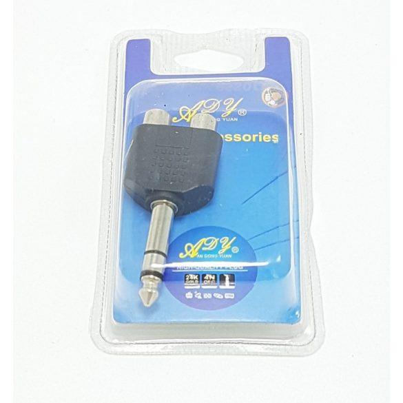 Audio adapter 2xRCA aljzat Fekete