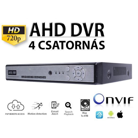 4 CSATORNÁSA AHD HD 720P NETWORK DVR, H.264, ONVIF