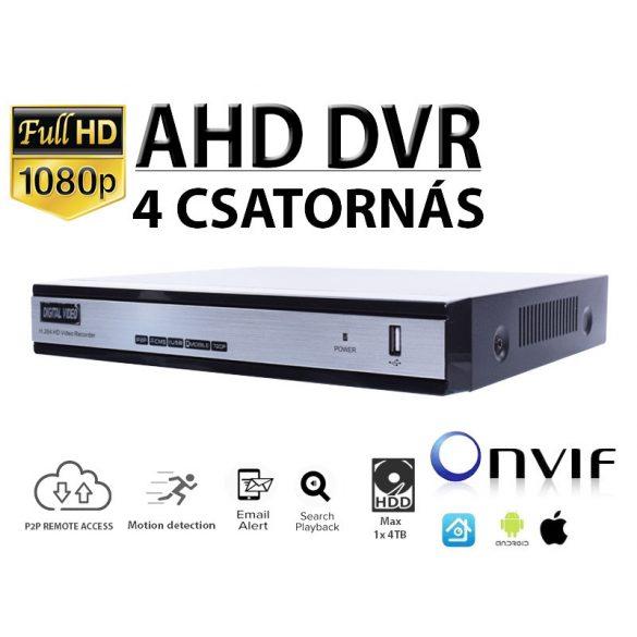 4 CSATORNÁSA AHD FULL HD 1080N NETWORK DVR, H.264, ONVIF