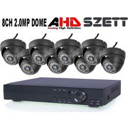 8 KAMERÁS 2MP 3.6mm AHD DOME biztonsági kamerarendszer, kültéri/beltéri, fekete szín